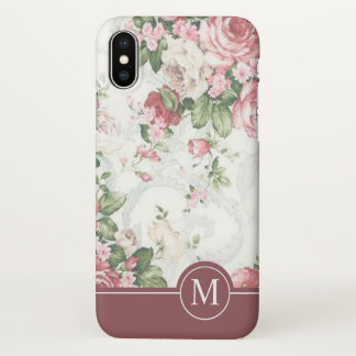 Elegant Floral Design Monogram | iPhone X Case