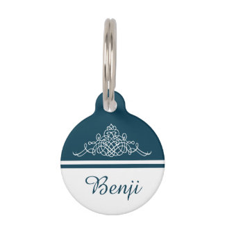 Elegant floral design pet tag