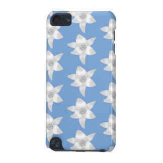 Elegant Floral Design. White Lily Flowers on Blue. iPod Touch 5G Cover