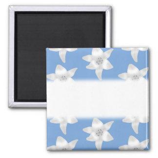 Elegant Floral Design. White Lily Flowers on Blue. Refrigerator Magnets