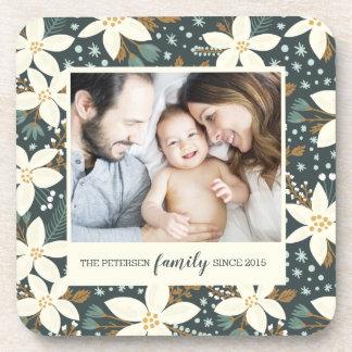 Elegant Floral Family Photo Coaster