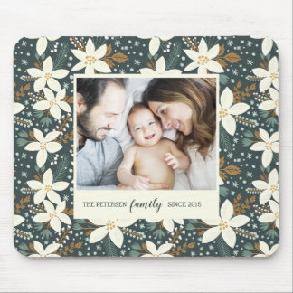 Elegant Floral Family Photo Mouse Pad