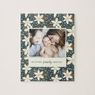 Elegant Floral Family Photo Puzzle