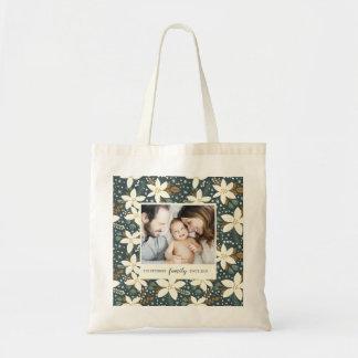 Elegant Floral Family Photo Tote Bag