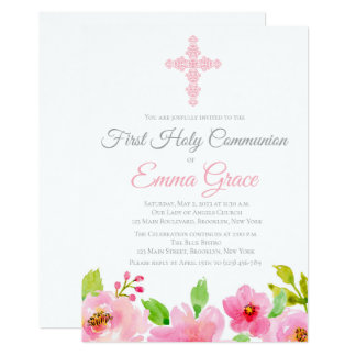Elegant Floral First Holy Communion Invitation