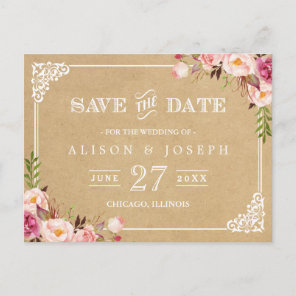 Elegant Floral Frame Kraft Wedding Save the Date Announcement Postcard