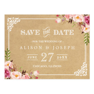 Elegant Floral Frame Kraft Wedding Save the Date Postcard