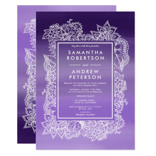 Elegant floral frame lavender watercolor wedding card