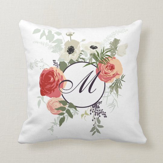 Elegant Floral Frame Monogram | Throw Pillow