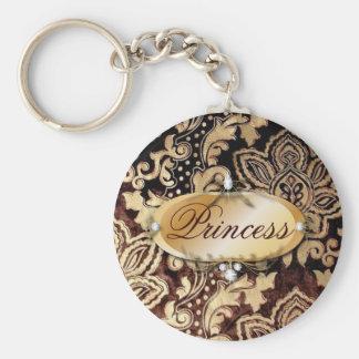 elegant floral girly vintage paris fashion basic round button key ring