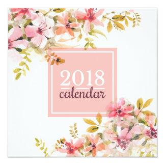 Elegant Floral Giveaways Party Favor 2018 Calendar Card