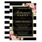 Elegant Floral Gold Black Stripes Retirement Party Card