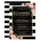 Elegant Floral Gold Black White Stripes Graduation Card