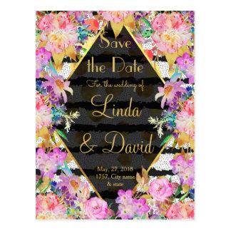 Elegant floral gold dots, stripes wedding design postcard