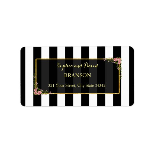 Elegant Floral Gold Foil Wedding Custom Address Label