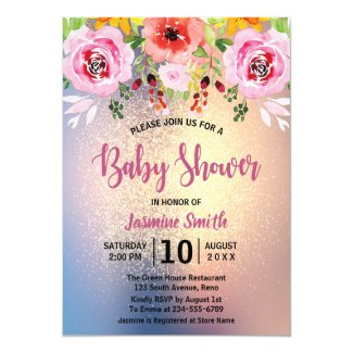 Elegant Floral Gold Glitter Baby Shower Invitation