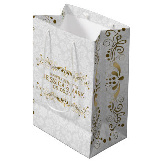 Elegant Floral Gold Lace With White Damasks 2a Medium Gift Bag