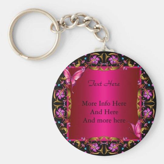 Elegant Floral Gold Pink Black Butterfly Key Ring