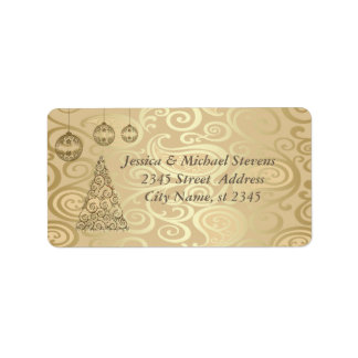 Elegant floral gold trendy holiday Christmas tree Label