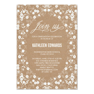 Elegant Floral Graduation Invitation - Craft Personalized Invitations