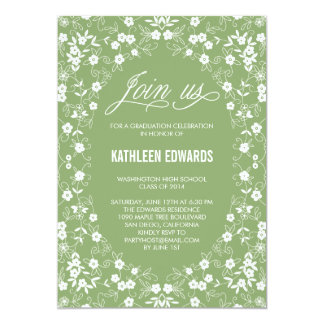 "Elegant Floral Graduation Invitation - Green 5"" X 7"" Invitation Card"