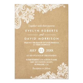 Elegant Floral Lace Pattern Kraft | Formal Wedding 13 Cm X 18 Cm Invitation Card