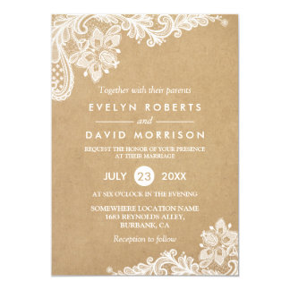 Elegant Floral Lace Pattern Kraft | Formal Wedding Card