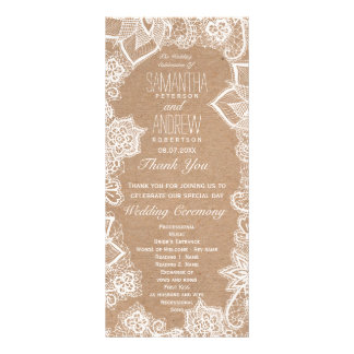 Elegant floral lace rustic kraft wedding program rack card