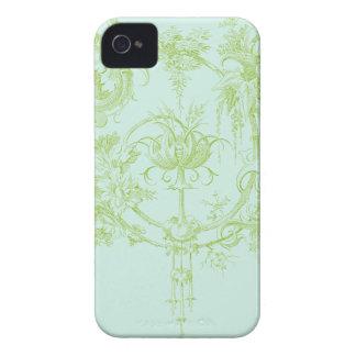 Elegant Floral, Leaf Green and Aqua iPhone 4 Case-Mate Case