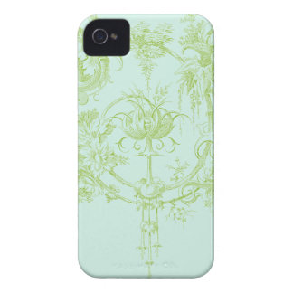 Elegant Floral, Leaf Green and Aqua iPhone 4 Cover