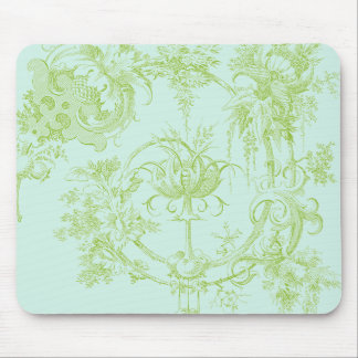 Elegant Floral, Leaf Green and Aqua Mouse Mat