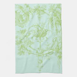 Elegant Floral, Leaf Green and Aqua Tea Towel