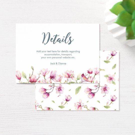 Elegant floral magnolia details card