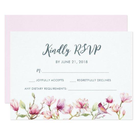 Elegant floral magnolia watercolor RSVP cards