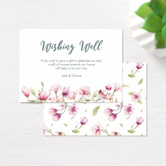 Elegant floral magnolia wishing well card