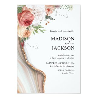 Elegant Floral Marble Glitter Gold Invitation