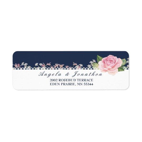 Elegant Floral Midnight Blue Return Address Label