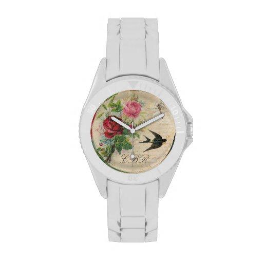 Elegant Floral Monogram Pink Roses Bird Dragonfly Watches