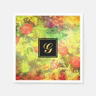 Elegant floral monogrammed dining paper napkin