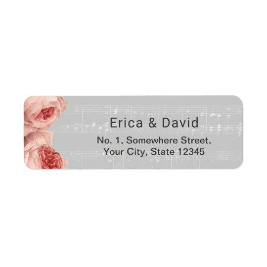 Elegant Floral Music Background Musical Return Address Label