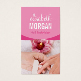 Elegant Floral Nail Salon Manicure SPA Business Card