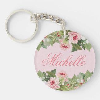 Elegant floral name keychain / keyring with flower