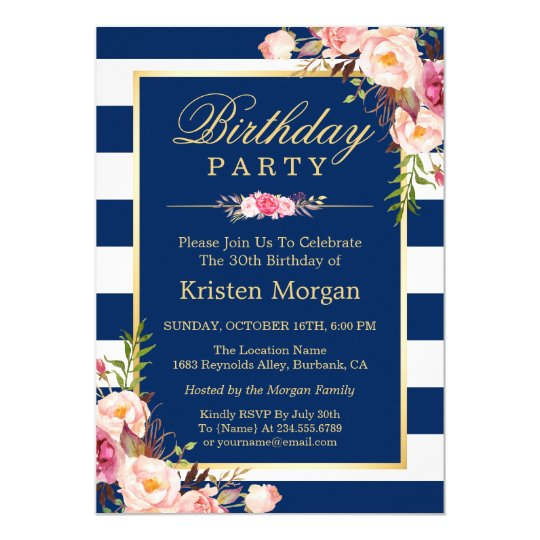 Elegant Floral Navy Blue Stripes Birthday Party Card