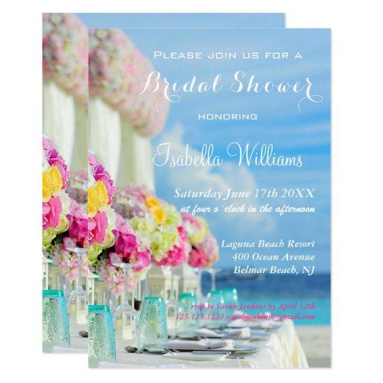 Elegant Floral Ocean Beach Summer Bridal Shower Card