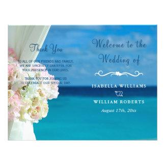 Elegant Floral Ocean Beach Summer Wedding Program 21.5 Cm X 28 Cm Flyer