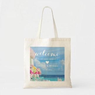 Elegant Floral Ocean Beach Wedding Welcome Heart