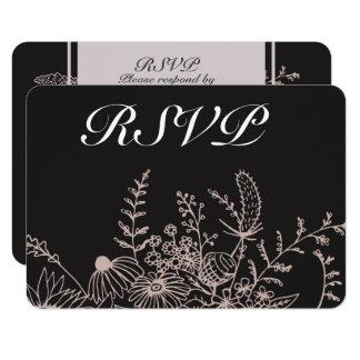 Elegant Floral On Black RSVP Card