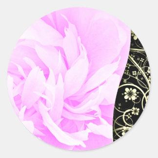 Elegant Floral on dark green and creative ar Round Stickers