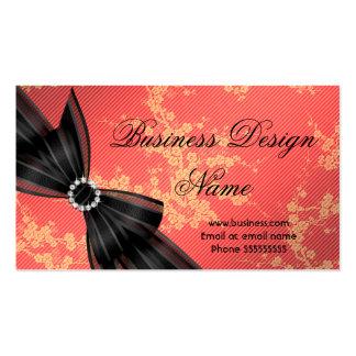 Elegant Floral Orange Blossom Black Diamond Bow Pack Of Standard Business Cards