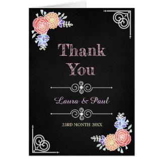 Elegant Floral Pattern on Chalkboard Thank You Card